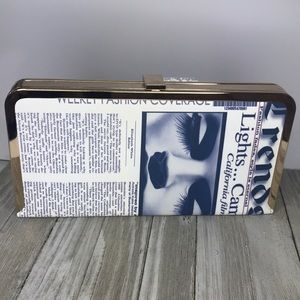 Handbags - Structured Newspaper art print clutch